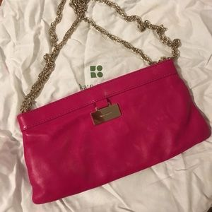 Kate spade pink leather chain clutch